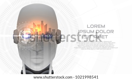 Modern concept web banner with robot cybernetic organism. Vector illustration with city landscape. Techno background with cyborg head and virtual HUD interface with augmented reality.