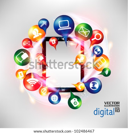 modern conceptual digital application social network design - stock vector