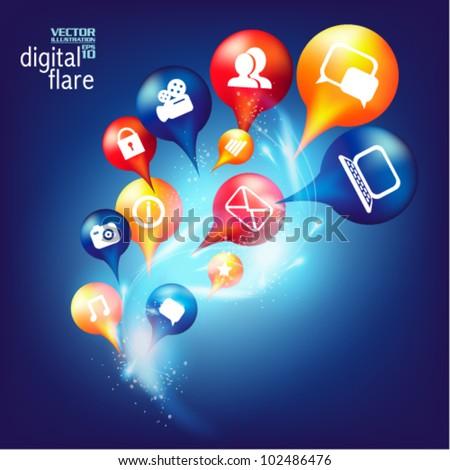 modern conceptual digital application social network design