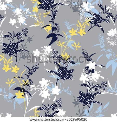Modern contemporary silhouette floral with polka dot botanical shapes seamless pattern vector EPS10,Design for fashion , fabric, textile, wallpaper, cover, web , wrapping and all prints