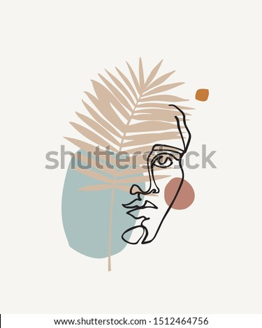 Modern continuous line art of ancient greek goddess statue with geometric shapes, palm leaf. Hand drawn illustration for fashion t-shirt design, printing, posters, invitations, cards, leaflets. Vector