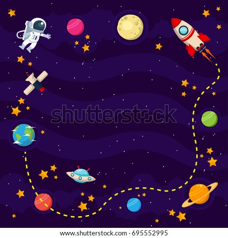 Modern Copyspace Banner Template Card Illustration - Space Theme
