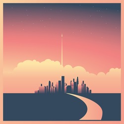 Modern corporate cityscape or skyline background with skyscrapers in sunset vector concept. Rocket or spaceship starting in background as symbol of future, mission, vision or startup. Eps10 vector.