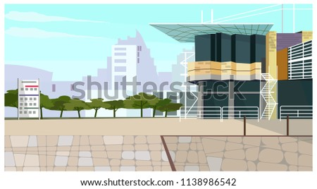 Modern cottage house with long roof vector illustration. Urban building with ladders. Cityscape illustration