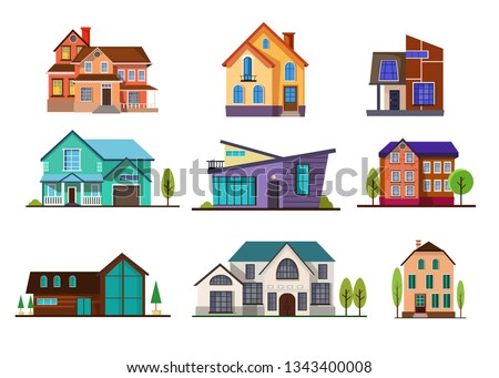 Modern cottage houses set. Collection for neighborhood and suburban. Can be used for topics like property, mortgage, architecture