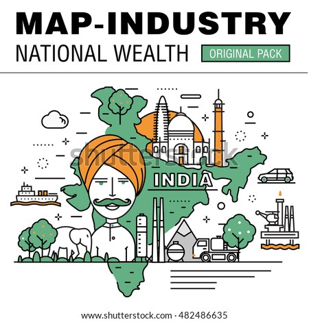 Modern country development flat industry. Thin line map concept in national wealth. Professional achievements in technology and industry elements. Nature vector idea concept symbol.