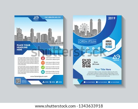 modern cover, brochure, layout for annual report with city background #1343633918
