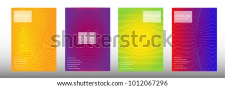Modern cover design A4 template set with Colorful abstract lines modern different color gradient style on background for decoration presentation, brochure, catalog, poster, book, magazine etc. Vector  #1012067296