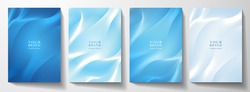 Modern cover design set. Blue abstract line pattern (guilloche curves). Creative wavy stripe vector collection layout for business background, certificate, brochure template, planner
