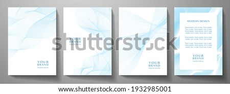 Modern cover design set. Blue, white abstract line pattern (guilloche curves). Creative wavy stripe vector collection for business background, certificate, brochure template, magazine layout Сток-фото ©