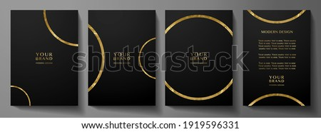 Modern cover design set with gold round ring (golden circle pattern) on black background. Luxury creative premium backdrop. Formal simple vector template for business brochure, certificate,  invite
