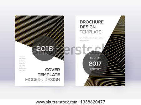 Modern cover design template set. Gold abstract lines on black background. Extra cover design. Amazing catalog, poster, book template etc.