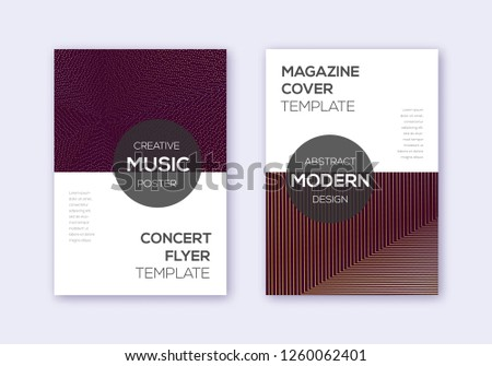Modern cover design template set. Gold abstract lines on bordo background. Exceptional cover design. Amazing catalog, poster, book template etc.