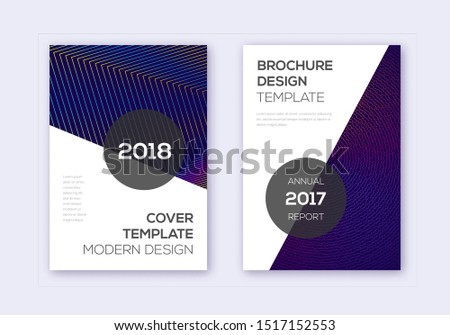 Modern cover design template set. Rainbow abstract lines on dark blue background. Fabulous cover design. Amazing catalog, poster, book template etc.