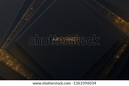 Modern cover design. Vector illustration. Ads banner design. Abstract background with black squares and shimmering glitter pattern. Composition with rectangle shapes. Business presentation layout
