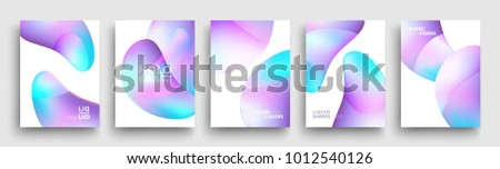 Modern Covers Template Design. Fluid colors. Set of Trendy Holographic Gradient shapes for Presentation, Magazines, Flyers, Annual Reports, Posters and Business Cards. Vector EPS 10