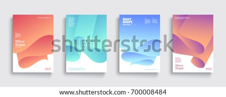 Modern covers with colorful twisting shapes. Trendy minimal design. Eps10 vector.