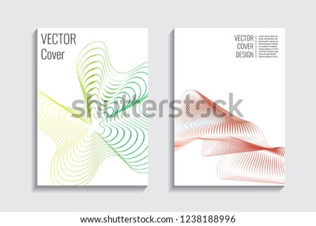 Modern covers with gradient wavy line shapes. Futuristic minimal design with a multi-colored bionic background. A4 format. Eps10 vector. For poster, layout, placard, grunge paper, card, book. #1238188996