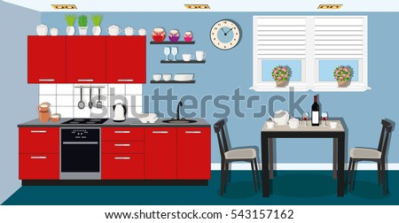 Modern Cozy Kitchen Interior Design With Stove Cupboard And Dishes Dining Room Table