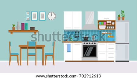 Modern cozy kitchen interior with dining area, flat style, vector graphic design template