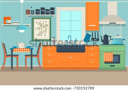 Modern cozy kitchen interior with dining area, flat style, vector graphic design template.Flat vector illustration