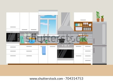 Modern Cozy Kitchen Interior With Window, Flat Style, Vector Graphic Design  Template