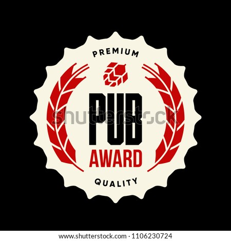 Modern craft beer drink vector logo sign for bar, pub, brewhouse or brewery isolated on dark. Premium quality award logotype tee print illustration. Brewing fest fashion t-shirt badge design.