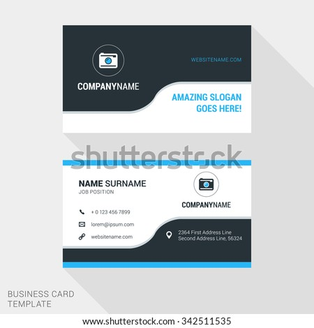 Modern Creative and Clean Business Card Template in Blue and Black Colors with Logo. Flat Style Vector Illustration