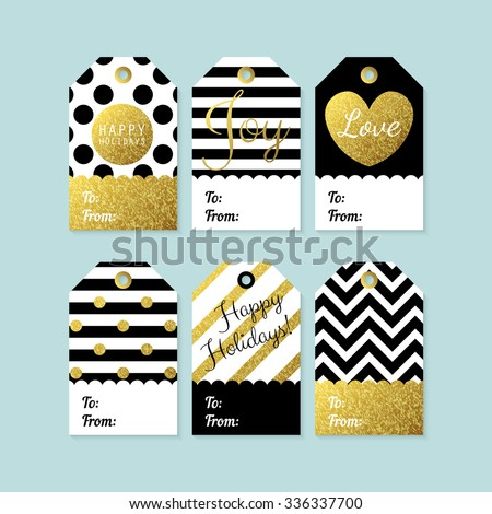 Vector Images Illustrations And Cliparts Modern Creative Christmas Gift Tags In Black Gold And White Vector Illustration Hqvectors Com