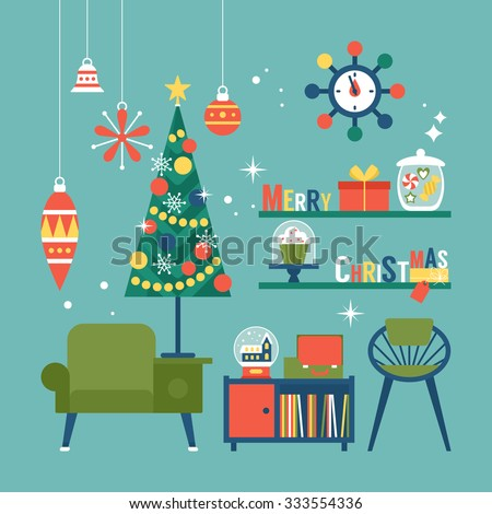 Modern creative christmas greeting card design with mid for Modern christmas decorations online