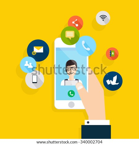Modern creative flat design on hand holding mobile phone with online service. Vector illustration.