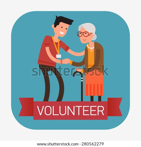 Modern creative flat design web icon on young volunteer man caring for elderly woman   Adult man helping and supporting old aged female   Senior person standing holding hand of adult man, full length