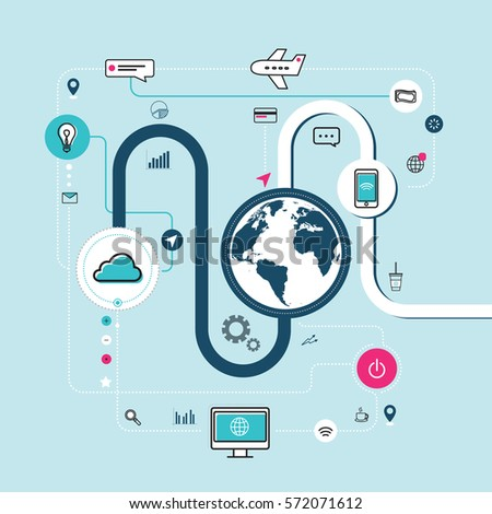 Modern creative icons showing connection of internet, technology and communication on light blue background