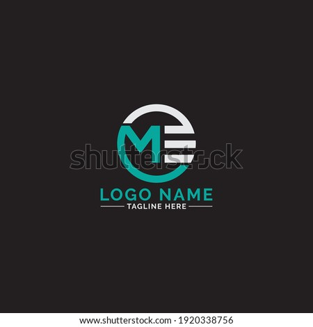Modern Creative ME logo monogram. Typographic icon with letter M and letter E. Stok fotoğraf ©