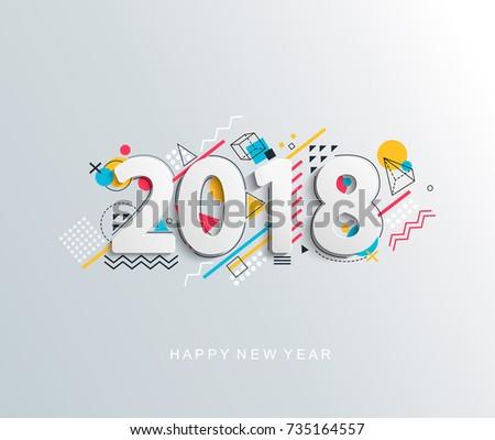 modern creative new 2018 year
