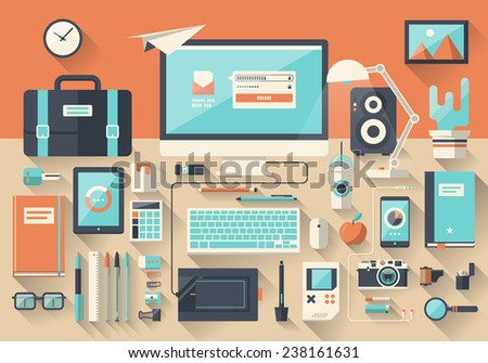 Modern creative office workspace, workplace in flat design style. Vector illustration concept