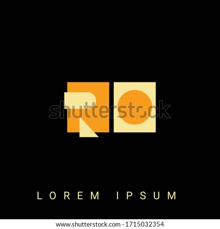 Modern creative shaped RO, OR, R, O logo. Initial Logo Designs  with Black Background. Foto stock ©