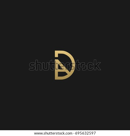 Modern creative unusual connected stylish fashion brands black and gold color DA AD A D initial based letter icon logo.