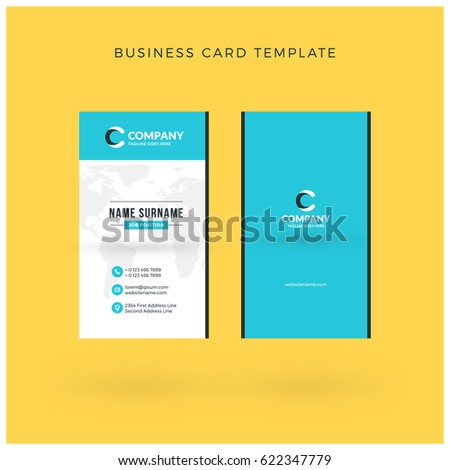 Modern Creative Vertical Double-sided Business Card Template. Flat Design Vector Illustration. Stationery Design