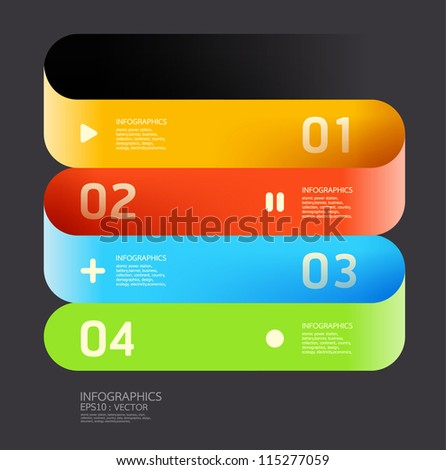 Modern  Curve color Design template  / can be used for infographics / numbered banners / horizontal cutout lines / graphic or website layout vector/Horizontal