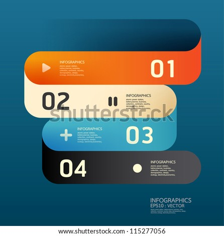 Modern  Curve Design template  / can be used for infographics / numbered banners / horizontal cutout lines / graphic or website layout vector/Horizontal