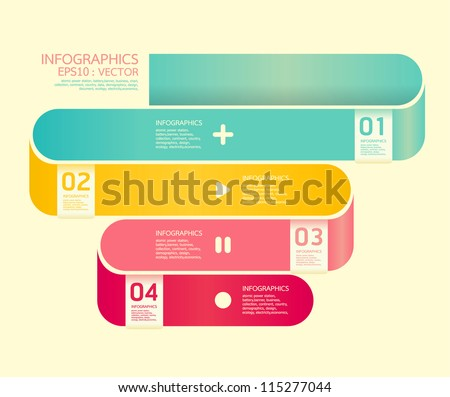 Modern  Curve soft color Design template  / can be used for infographics / numbered banners / horizontal cutout lines / graphic or website layout vector/Horizontal - stock vector