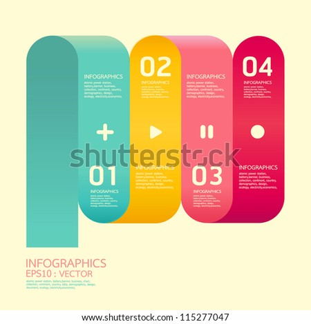 Modern  Curve soft color Design template  / can be used for infographics / numbered banners / horizontal cutout lines / graphic or website layout vector/Horizontal