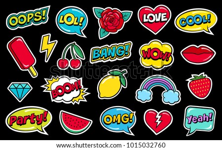 Modern cute colorful patch set on black background. Fashion patches of cherry, strawberry, watermelon, lips, rose flower, rainbow, hearts, comic bubbles etc. Cartoon 80s-90s style. Vector illustration #1015032760