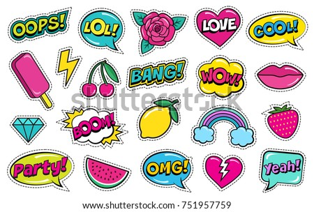 Modern cute colorful patch set on white background. Fashion patches of cherry, strawberry, watermelon, lips, rose flower, rainbow, hearts, comic bubbles etc. Cartoon 80s-90s style. Vector illustration