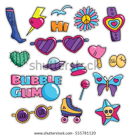 Modern Cute 80s-90s Retro Girl Power Isolated Fashion Cartoon Illustration Set Suitable for Badges, Pins, Sticker, Patches, Fabric, Denim, Embroidery and Other Girly Related Purpose