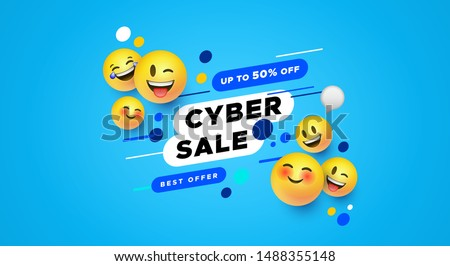 Modern cyber sale banner with yellow smiley face icons in 3d style. Social web store discount concept for technology product or online promotion.