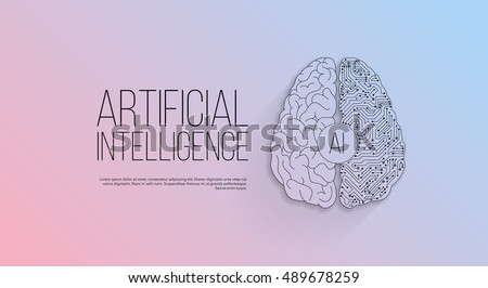 Modern cyberbrain concept. Outline top view illustration of a circuit board with a brain. Artificial intelligence banner