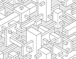 Modern 3d block technical style seamless background. Vector Version.