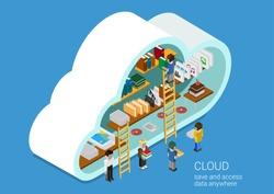 Modern 3d flat design isometric concept for cloud service online media file data backup storage. Cloud shape library shelf and people on the ladders upload download folder data disc information.